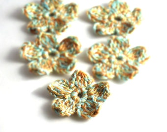 Crochet Applique Mini Flower Motif Flower Embellishment Crochet Flower Applique Turquoise Orange Yellow Crochet Motif Crochet Flower Motif