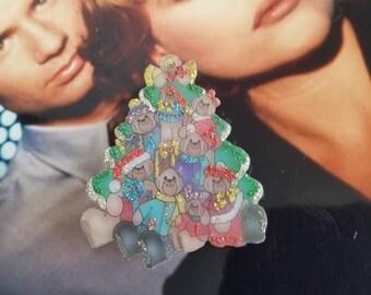 Vintage Teddy Bear Glitter Christmas Tree Brooch