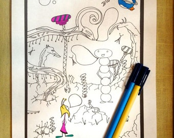 Kids Activity Printable Coloring Page Space Aliens Instant pdf Digital Download Original Art