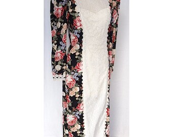 Hawaiian Muumuu with Floral Print, White Lace Front, Long Sleeves, Triangle Back and Godet