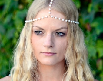 THE CHELSEA - Gold Chain With White Pearl Crown Hair Chain Head Jewelry 1920's style Prom Glamorous Headpiece Classy Costume Spring Summer