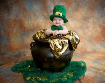 Leprechaun Baby Hat, Irish Hat, St. Patricks Day, Baby, St Patty's Day, Beanie, Crochet, Kids, Tophat, Irish, Child, Costume, Boy, Girl