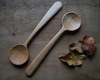 Wooden spoon, cooking spoon, serving spoon, 27 cm long, handcarved.