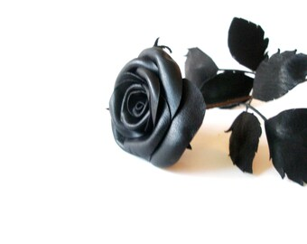 Leather Rose -Black rose,red rose,leather flower, Valentines day gift,Long Stem leather rose, 3rd Gift anniversary,