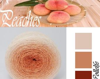 Peaches* Merino silk Gradient Yarn hand dyed - Lace weight