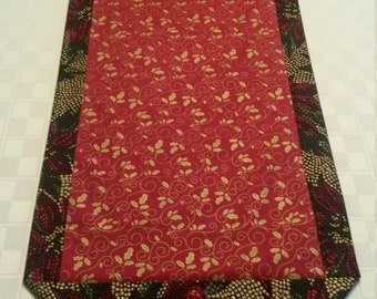 Red and Gold Holly and Poinsettia Table Runner