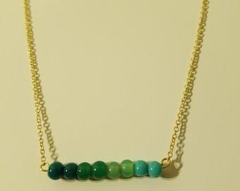 Ombre Gradient Minimalist Aqua Beaded Bar Necklace