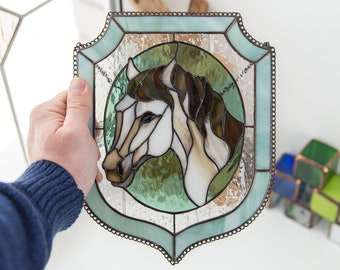 Stain Glass Suncatcher / Stain Glass Horse / Stain Glass Panel / Window Hanging  / Horse Decor / Horse Art / Glass Art / Horse Wall Art
