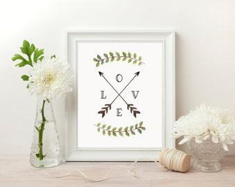 Love Arrow Print, Printable Arrows, Gallery Wall Prints, Tribal Wall Art, Watercolor Dorm Decor, Nursery Decor Boho, Affiche Scandinave
