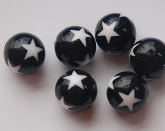 Vintage Black with White Star Beads 12mm bds915F