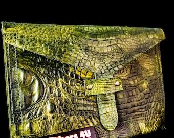 Ipad Case, Faux Alligator Ipad Case, Ipad Sleeve, Leather Ipad Case,