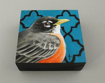 Robin Redbreast realistic painting - spring songbird - robin painting - backyard bird - songbird art block painting - miniature art