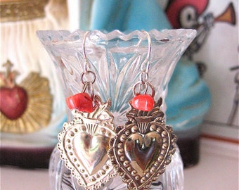 Silver SACRED HEART Intricate Mini Milagro Dangle Earrings- Perfect gift for the one you love