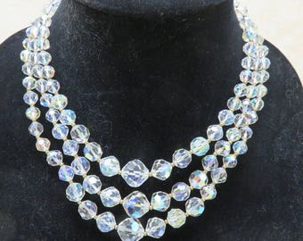 Fabulous Vintage Aurora Borealis Clear Crystal 3 Strand Bib Necklace