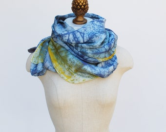 faded blues silk scarf, oversized hand printed shawl, 88editions scarves
