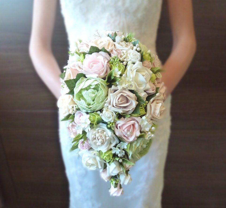 Peony Inspired Wedding Ideas: Bespoke Vintage Pastel Pink And Green Rose And Peony Teardrop