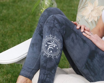 "Gray Yoga Leggings Hand Dyed from The ArtiZan Collection with Optional Hand Painted Design 30"" Inseam"