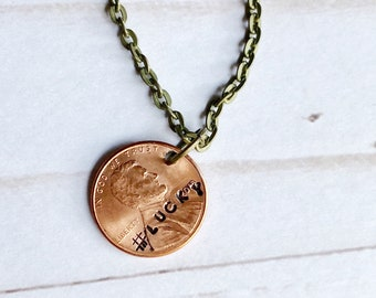 Lucky Penny Necklace Good Luck Penny Necklace Anniversary Gift 7th Anniversary Present Gift for Her Gift for Him Lucky Charm Copper Pendant