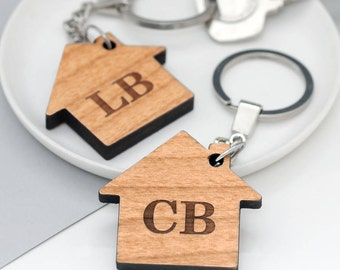 New Home Key Rings, New Home Housewarming Gift, Personalized Housewarming Gift, Set Of Two Personalised House Initial Key Rings