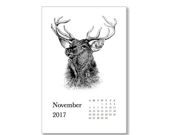 Printable 2017 Calendar. Hoofed Animals.