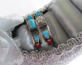 Cowgirl Cowboy Wedding Ring Sets Turquoise Sterling  Wedding Bands Rustic Wedding Rings Alternative wedding rings turquoise jewelry ring set