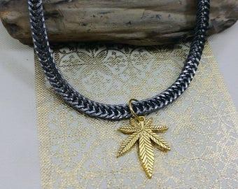 Black Chrome Chain accented with Cannabis Leaf.
