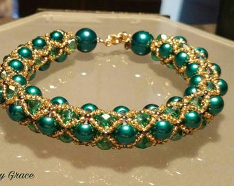 Teal and gold netted bracelet