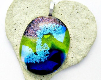 Gorgeous Pink Green Aqua and Blue Dichroic Fused Glass Pendant