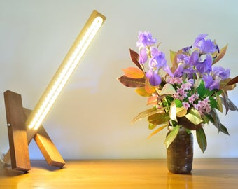 wood lamp, in Beech and polished Sipo