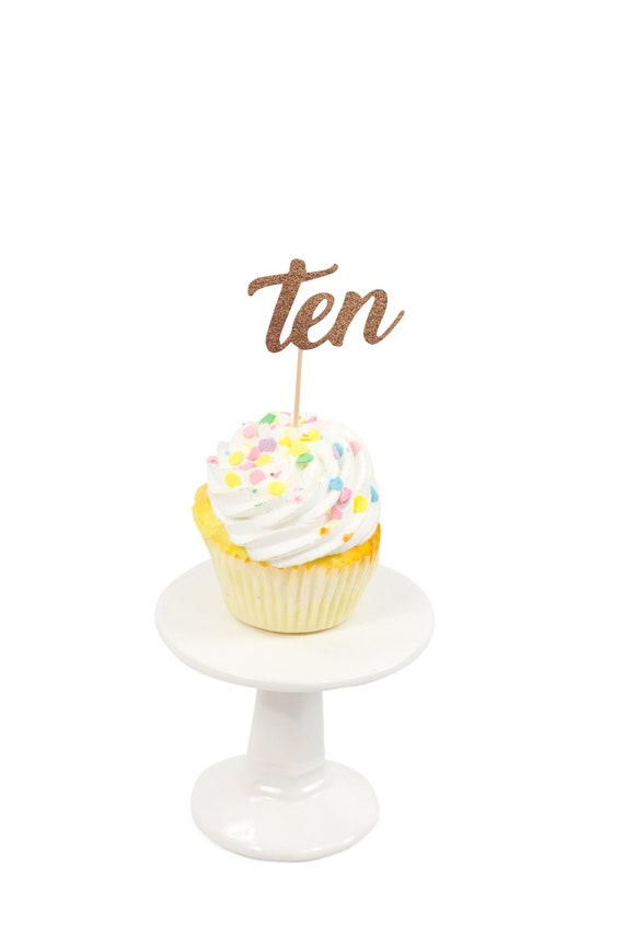 Number Ten Rose Gold Glitter Cupcake Toppers, Number Ten Toothpicks, Rose Gold Party Decor, Food Decoration, Tenth Birthday, 10th Birthday