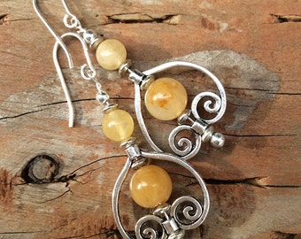 Citrine Earrings November Birthstone yellow orange earrings chandalier earrings citrine jewelry