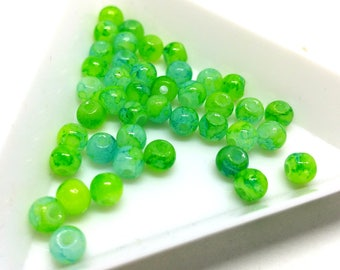 x 10 beads 4 mm - two-tone - colors to choose - glass