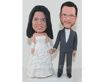 Custom Made Bride and Groom Wedding Cake Topper