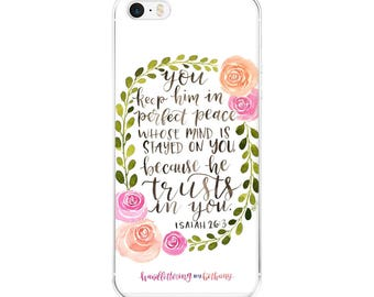 Perfect Peace Watercolor Floral Wreath iPhone Case