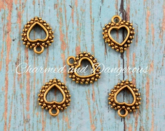 10 gold Dotted Heart charms (CM214)