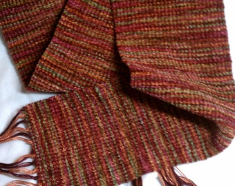 Handwoven Chenille Scarf - Burgandies, Oranges, Green - FREE SHIPPING within USA