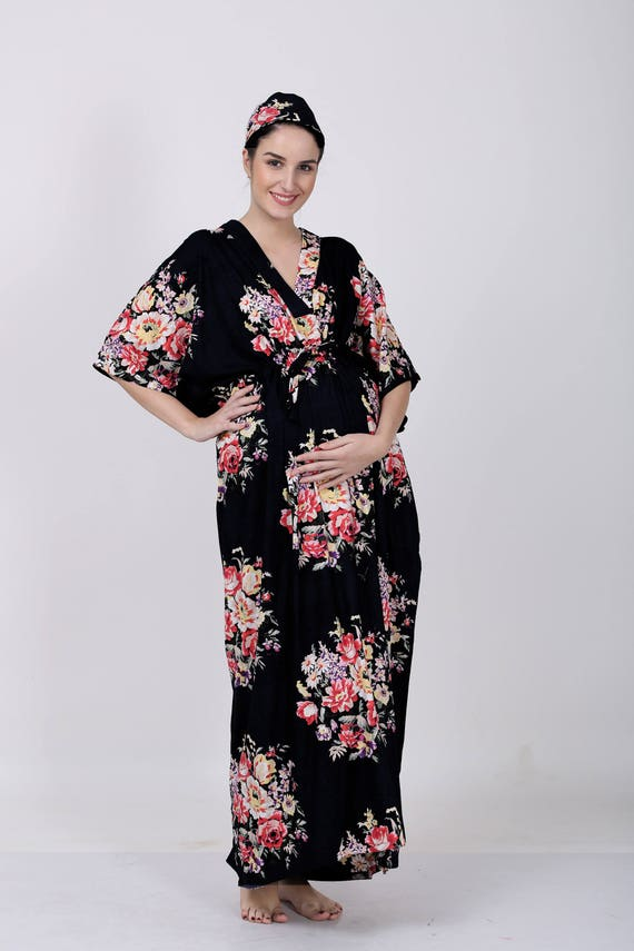 Black Floral mommy gown hospital gown maternity clothes