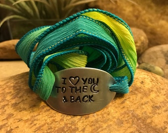 I love you to the moon and back silk wrap bracelet - yoga jewelry - Valentines Day gifts for men or women - hand stamped - personalized