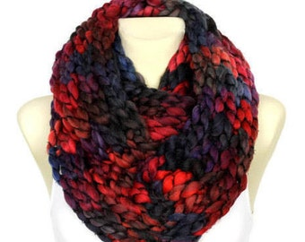 Red and Black Knit Scarf Women Knit Infinity Scarf Chunky Knit Scarves Oversized Cowl Scarf Knitted Snood Winter Snood CHA Mothers Day Gift
