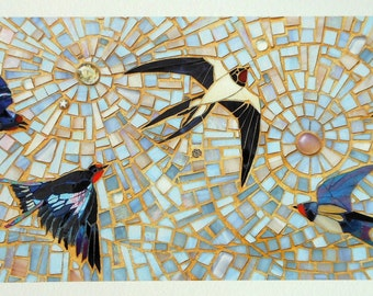 Swallow Print - Limited Edition Giclee Print Original Mosaic - Bird Art Print - Flying Birds - Nature Art - Swift House Martin Rustic Decor