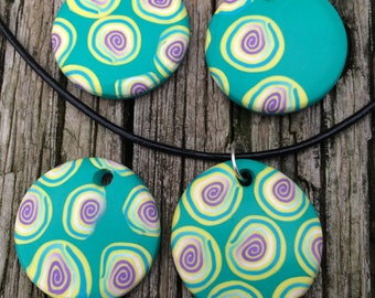 Pastel Turquoise Lemon and Lavender Polymer Clay Circle Pendant Necklace Choose One