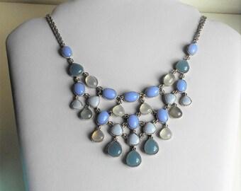 Vintage MONET Jewellery Set Beautiful Blues Cascade Necklace Bracelet and Earrings