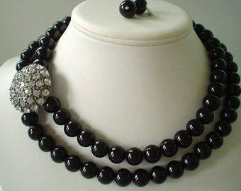 Two Strand Chunky Black Glass Pearl with Large Rhinestone Brooch Beaded Necklace Set     Great for Bridesmaid Gifts