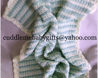 Baby Shower Gift-Handmade Crochet Baby Blanket-Baby Mint Green and White Baby Afghan-Handmade Baby Gift-Neutral Gender Crochet Baby Blanket