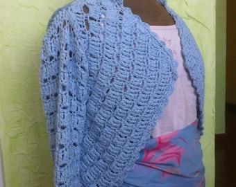 Blue bolero Cardigan 2 tone openwork crochet