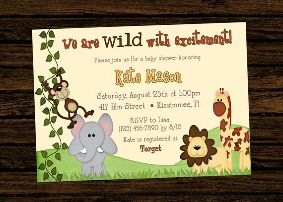 Custom baby shower jungle themed birthday party invitations stopboris Image collections