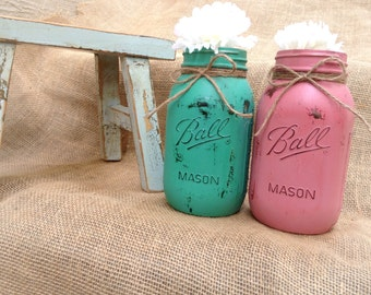 Painted mason jars, mason jar decor,wedding mason jars,rustic wedding,wedding centerpiece,shabby chic decor,decorated mason jar,coral mint