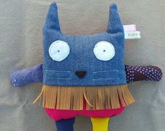 Plush cat blue and Red back