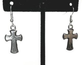 Chrome & Black Cross Earrings