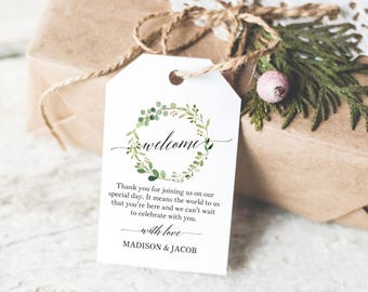 Greenery Wedding Welcome Tag Template, Editable Welcome Tag, Wedding Favor Tags, Printable Welcome Tags, PDF Instant Download, MM07-1